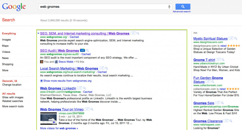 Organic Search Results - Google Example - Web Gnomes