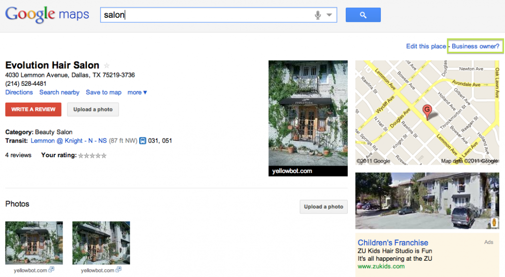 What is Google Local - Google Example - Unclaimed Places Page