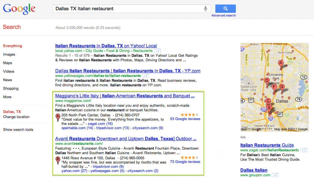 What is Google Places - Google Example - Blended Results