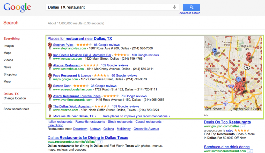 What is Google Places - Google Example - Pure Results
