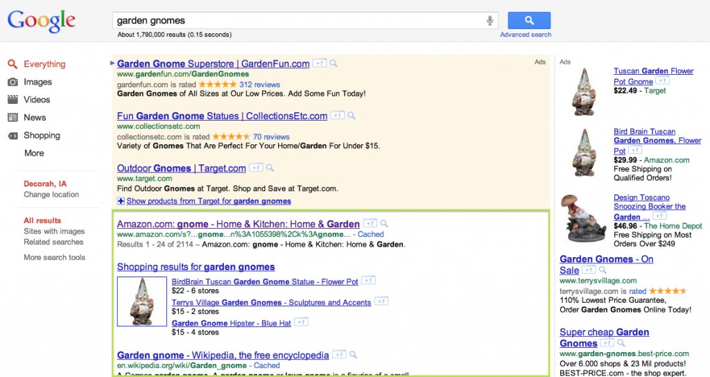 What is SEO - Google Organic Search Results example - Garden Gnomes