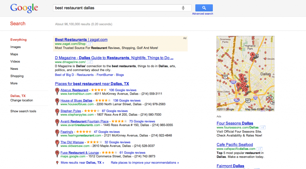 Local Search Marketing Example - Best Restaurant Dallas