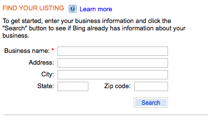 Bing Business Portal - Find Your Listing
