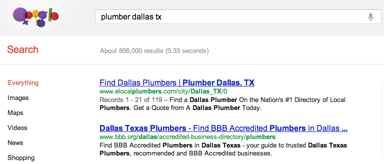 Google Search Plumber Dallas TX