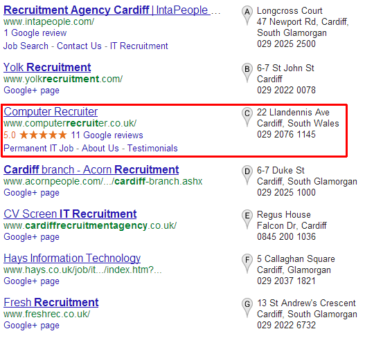 local SERP example