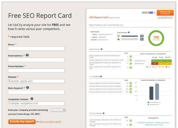 UpCity SEO report card